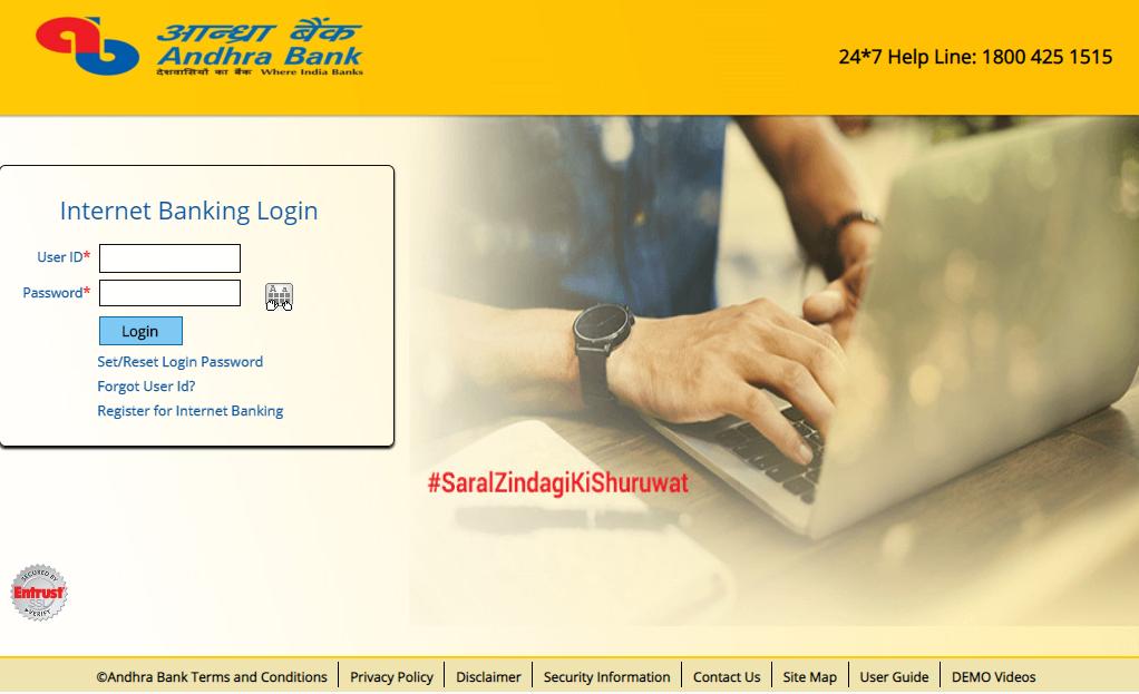 Login Andhra Bank net banking