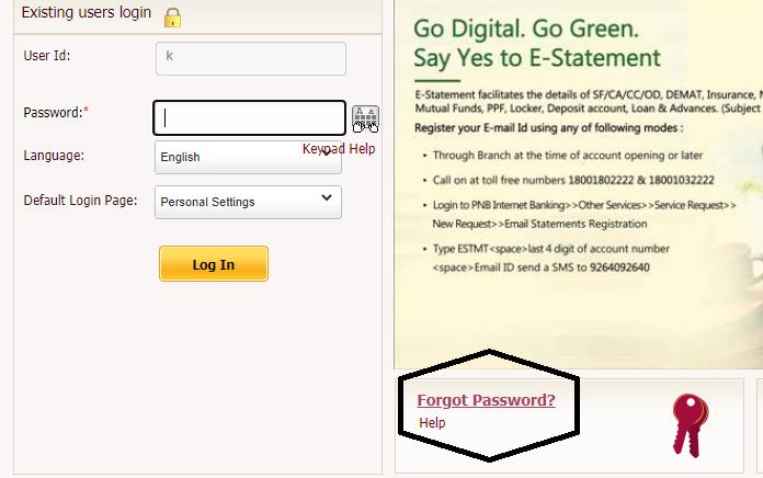 PNB internet banking reset password