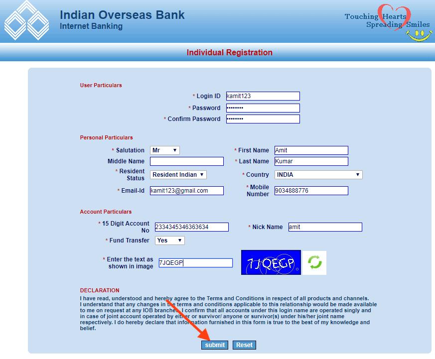 IOB Net Banking Register