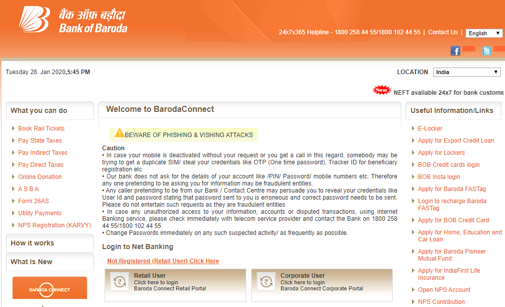 How to register and login to Bank Of Baroda Internet Banking